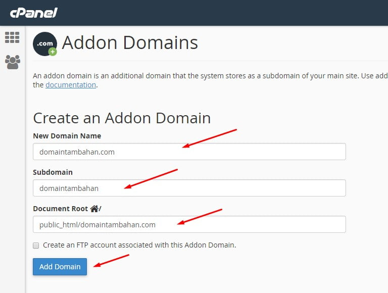 cara menambah domain