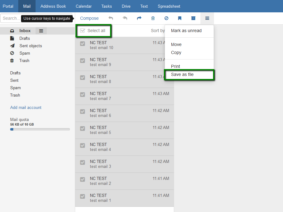 cara backup email oxappsuite