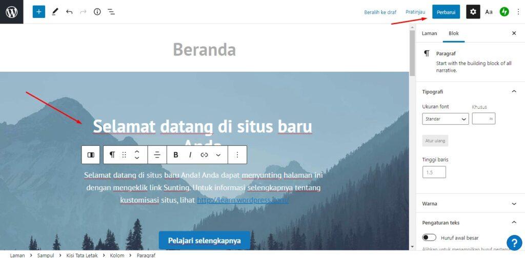 tampilan halaman wordpress bawaan