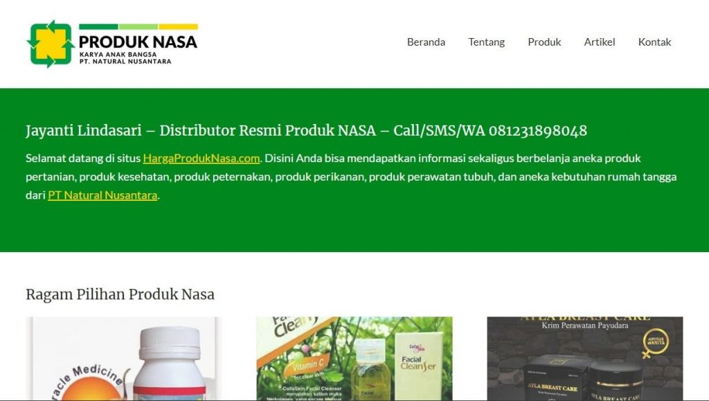 website jual produk nasa