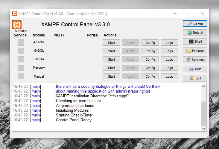 xampp control panel terbaru