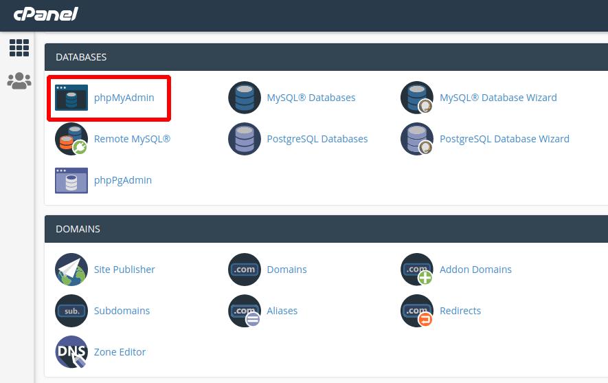 cek database via phpmyadmin